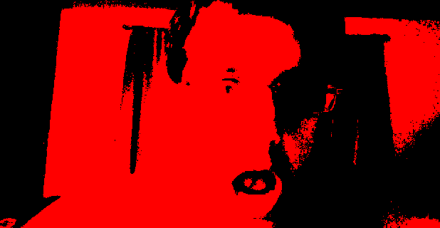 screenshot from my webcam - filtering by red pixels.